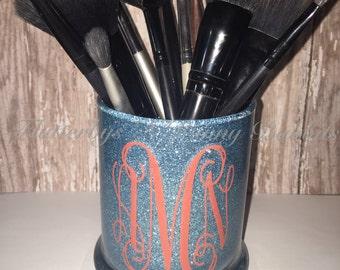 Custom glitter make up brush holder pen holder pencil holder makeup holder glitter jar monogrammed glittered jar