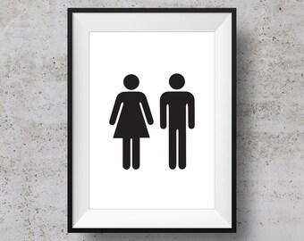 Gender Bathroom Sign Etsy