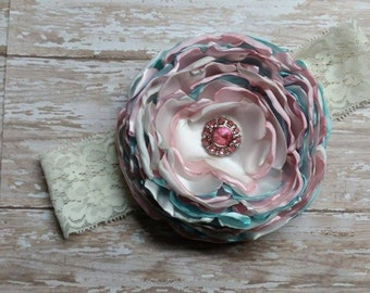 Light Pink, Light Blue, Ivory Singed Flower Headband
