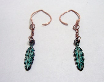Copper pixie feather tribal earrings