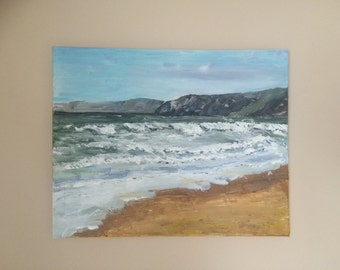 Cayton Bay, original oil painting