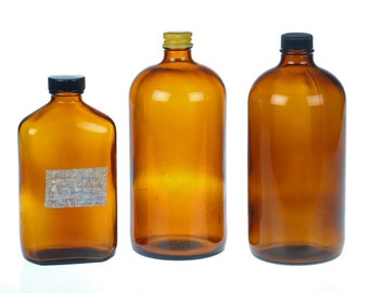 vintage Chemicals Bottles - Brown bottles - Laboratory Apothecary Industrial decor - set of three 3