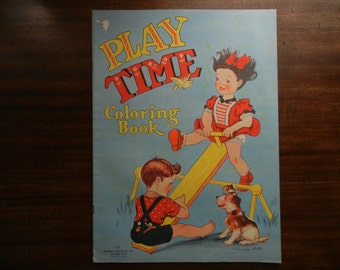 Play Time Coloring Book ~ 1949 ~ Oversize ~ Illustrated by Ethelwyn Wills