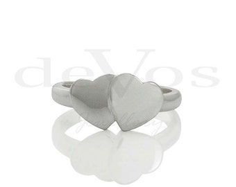 Heart Ring - Two Hearts - Signet Ring - Love