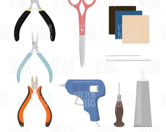 Jewelry Making Tools Vector Clipart Pack- Pliers, Scissors, Needles, Glue, Ultrasuede, Pin pusher, Glue Gun - Ai, Eps, Pdf, Png