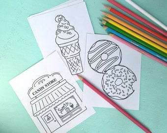 On-the-Go MINI COLORING PAGES for girls - Digital File- Instant Download- quiet activity, little girls, party favor, coloring book