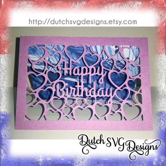 Download Card cutting file Happy Birthday with cutout hearts, in ...