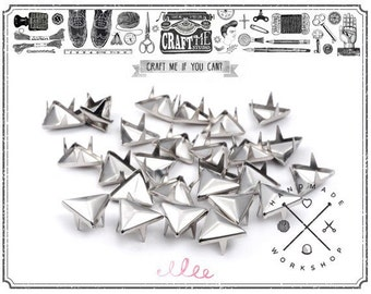 50PCS 12MM Nickel TRIANGLE pyramid studs Glam rock biker NAILHEADS Leathercraft.