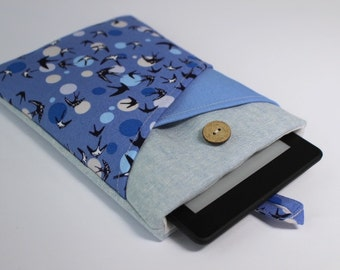 Kindle Cover, Kindle Paperwhite Case, Kindle Voyage Sleeve, Kindle Fire HD6 Case, Kindle Touch Pouch, Kobo Touch Sleeve, Swallows Blue