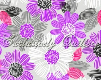 Floral Fabric, Amethyst, Large flowers on a grey background, by Exclusively Quilters, 60206-30