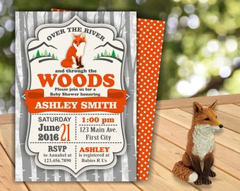 Fox Baby Shower Party Invite Wilderness Lumberjack Invitation woodland Neutral Over the River & through the woods BYF1 Boy Girl orange gray
