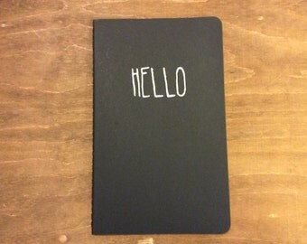 MOLESKINE Lined Notebook with Hand Painted Hello Words on Cover