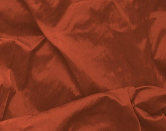 Dupioni Silk Fabric - Rust - 100% Silk - SLDP14