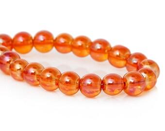 20 AB Transparent Orange Glass Beads | 6 mm | 4027