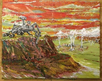 Terraforming Mars - a future vision; 8x10 original oil painting