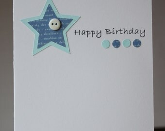 Happy Birthday - Blue Stars / Yellow and Purple Stars