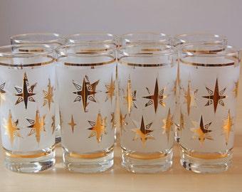 Mid-Century Gold atomic / starburst high ball glasses