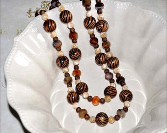 Tiger Bead Necklace, Tiger Wood Beads, Tiger Bead Necklace, Double Strand Beads, Extra Long Necklace, Wood Beaded Necklace
