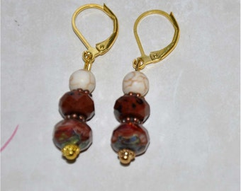 Brown and Rust Quartz Dangle Lever Back Earrings