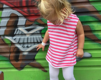 Hoodie Dress (Sleeveless) - Pink and White Stripe - READY TO SHIP by Little Dreamer