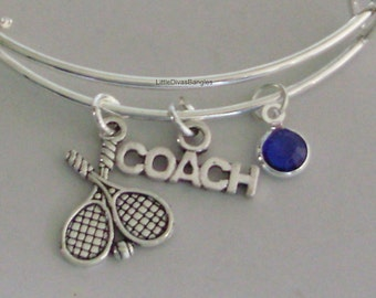 TENNIS / Coach  Bangle Bracelet  W/ A Birthstone /  Under Twenty / Sports Team Gift  Usa  T1