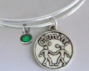 GEMINI Zodiac CHARM W/ Birthstone Adjustable Expandable Bangle Bracelet ZODAIC Bracelet  Gift - Under 20 Pick Your Sign  Usa Z1