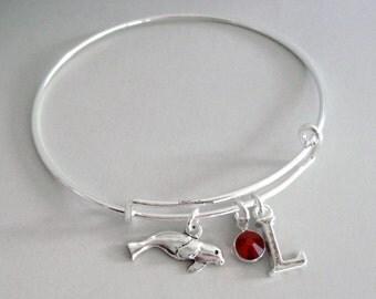MANATEE Bangle Bracelet  W/ A Birthstone - Initial  Under Twenty / Ocean / Sea Charm Bangle Gift  For Her USA  M1