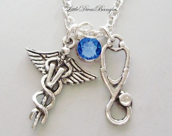 Veterinarian/ Stethoscope Chain NECKLACE W/ Swarovski Birthstone Crystal  /  Nurse  Necklace / Gift For Her / Under 20  Usa  NK1