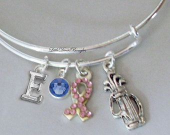 Awareness Bangle W/ GOLF Bag / Pink Crystal Ribbon t W/ A Birthstone / Initial Bangle -  Under Twenty / Gift For Her USA G1