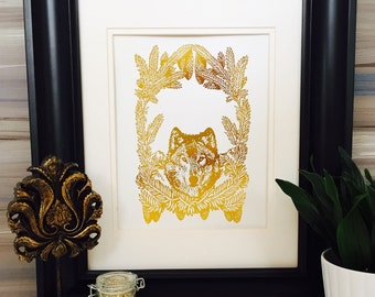 Wolf Head, wolf art, gold foil print, Real Gold Foil, wolf poster, Forest Creature Art