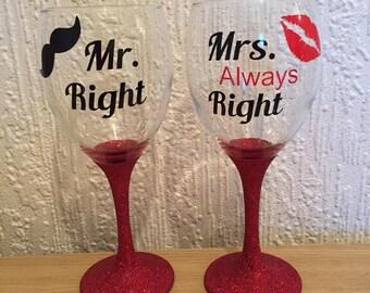 Mr Right & Mrs ALWAYS right glitter wine glass set