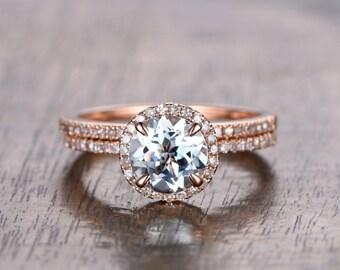 2pcs 7mm Round Cut Aquamarine Engagement Wedding Ring,Diamond Wedding Band Half Eternity, 14K Rose Gold Bridal Wedding Ring Set