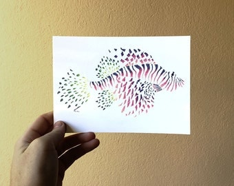 "Postcard - ""little dots and beasts, the scorpionfish"""
