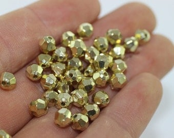 4.5 mm Gold Tone Round Spacer Beads, Puzzled CCB Spacer Beads,  Faceted Tiny Beads, Wholesale Beads