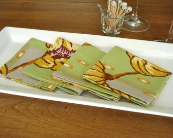 SALE***Cocktail Napkins / Cotton Reusable Napkins / Party Napkins / Set of 4 Cheerful Napkins / Amy Butler Green Floral /Ready To Ship