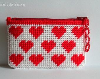 Red hearts pouch,heart purse,womens zipper wallet,large zipper pouch,business card holders,coin purse zipper with hearts,gift idea