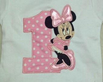 Pink Minnie Mouse 1st Birthday Onesie Pink Minnie Mouse 1st Birthday Shirt Minnie Mouse Birthday Shirt Girl Minnie Mouse Birthday Shirt