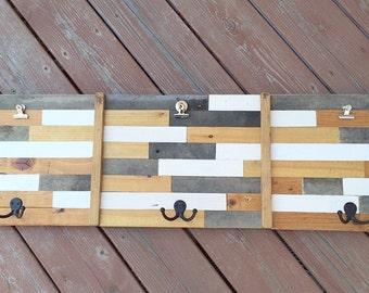 Reclaimed Wood Wall Art. Mudroom Hooks. Wood Wall Hanger. Reclaimed Wood Coat Rack. Wood Wall Rack