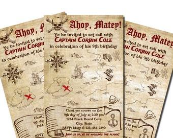 Printable Pirate Birthday Invitations - Personalized - Treasure Map