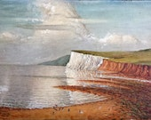 Original Oil Painting Of An English Coastal Scene Circa 1910 Free Shipping