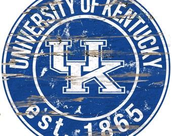 "NCAA University of Kentucky Round Distressed Established Wood Sign 24"" Diameter"