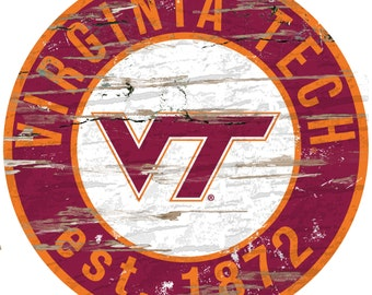 "NCAA Virginia Tech Round Distressed Established Wood Sign 24"" Diameter"