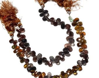 Rare Tourmaline Beads, Tourmaline Briolettes, Tourmaline Pear Beads, Faceted Tourmaline Beads, 7mm To 9mm, 8 Inch Strand, SKU-RGS5