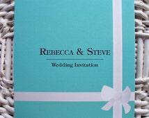 Blue gift box Personalised folding Wedding Invitations