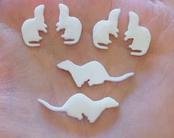Crafting ferret, MIXED silhouette, ferret design, 3D printed, plastic, small white