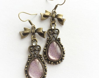 bronze iridescent pink cabochon classy Victorian earrings soft pink vintage