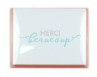 Thank You Letterpress Box Set of 5 Cards // Merci Beaucoup // French // français