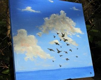 "Acrylic painting ""The flight of birds"""