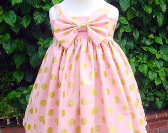 Pink and big gold Polkadots Heirloom Dress!!