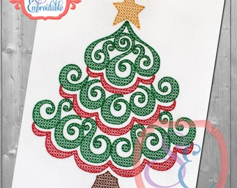 Swirly Christmas Tree Design For Machine Embroidery INSTANT Download
